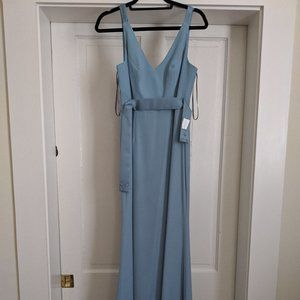 Long V Neck Crepe Gown with Open Back in Mist